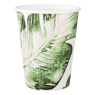 Elegant White Green Tropical Beach Leaves Wedding Paper Cup