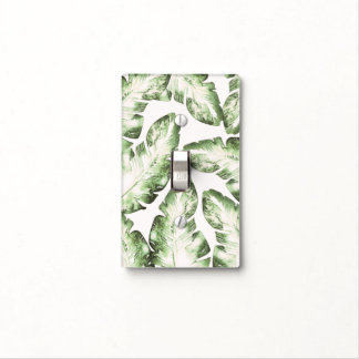 Elegant White Green Tropical Beach Palm Leaves Light Switch Cover