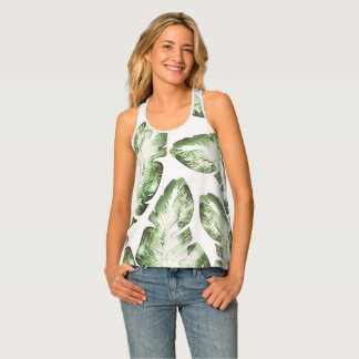 Elegant White Green Tropical Leaves Pattern Print Tank Top