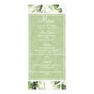 Elegant White Green Tropical Leaves Wedding Menu