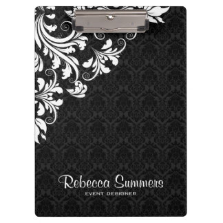 Elegant White Lace And Black Damasks Clipboard