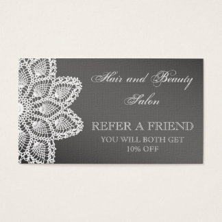 Elegant White Lace Beauty Salon Refer a Friend Business Card