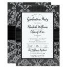 Elegant White Lace | Black Graduation Party Card