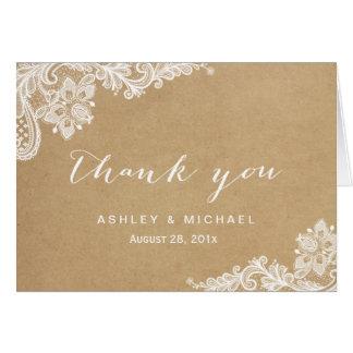 Elegant White Lace in Kraft Thank You Card