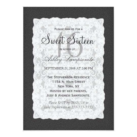Elegant White Lace on Black Card