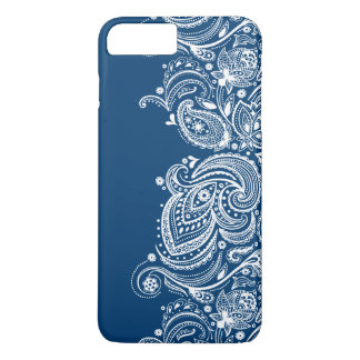 Elegant White Lace On Changeable Blue Background iPhone 8 Plus/7 Plus Case