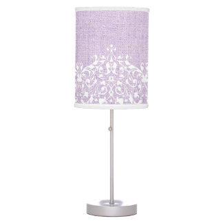 Elegant white lace on lavender burlap custom table lamp