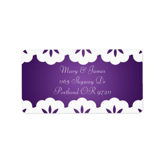 Elegant White Lace Wedding Address Purple Label
