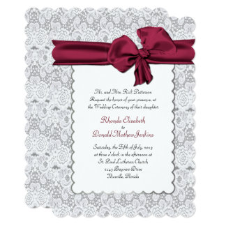 Elegant White Lace Wedding Invitation