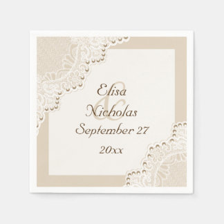 Elegant white lace with pearls beige wedding paper napkins