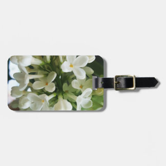 Elegant white lilac blossom photo bag tag