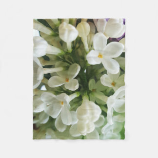 Elegant white lilac blossom photo fleece blanket