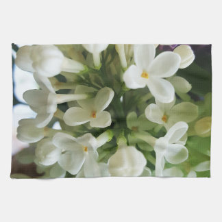 Elegant white lilac blossom photo kitchen towel
