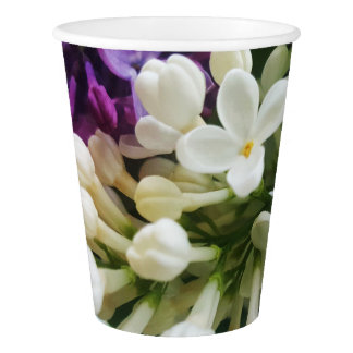 Elegant white lilac blossom photo paper cup