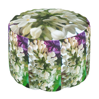 Elegant white lilac blossom photo pouf