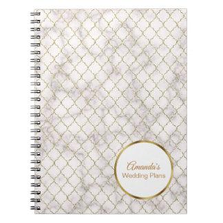 Elegant White Marble and Gold Quatrefoil Wedding Notebook