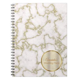 Elegant White Marble and Gold Wedding Journal