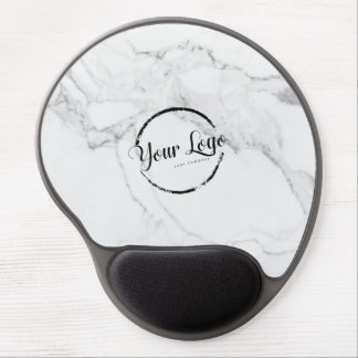Elegant white marble custom logo gel mouse pad