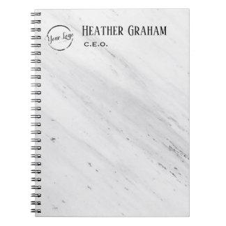 Elegant white marble custom logo notebook