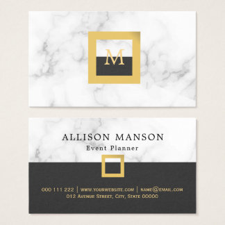 Elegant white marble | Event planner Business Card