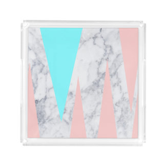 elegant white marble geometric triangles pink mint acrylic tray