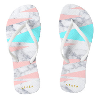 elegant white marble geometric triangles pink mint flip flops