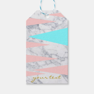 elegant white marble geometric triangles pink mint gift tags