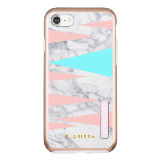 elegant white marble geometric triangles pink mint incipio DualPro shine iPhone 8/7 case