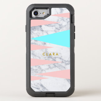 elegant white marble geometric triangles pink mint OtterBox defender iPhone 8/7 case