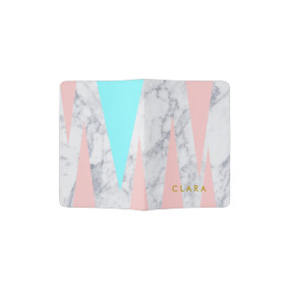 elegant white marble geometric triangles pink mint passport holder
