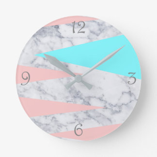 elegant white marble geometric triangles pink mint round clock