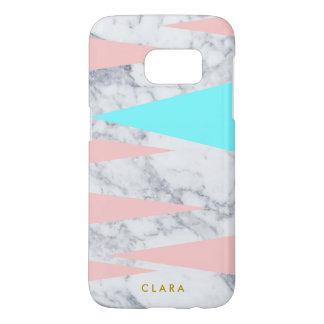 elegant white marble geometric triangles pink mint samsung galaxy s7 case