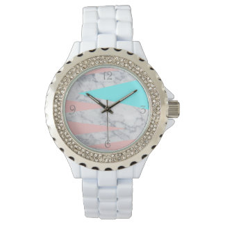 elegant white marble geometric triangles pink mint watch