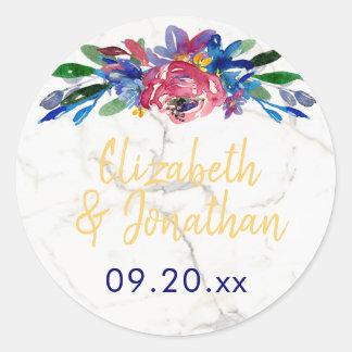 Elegant White Marble Gold Blue Burgundy Floral Classic Round Sticker