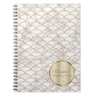 Elegant White Marble Gold Chevron Wedding Journal