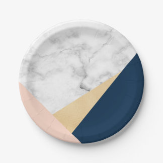 elegant white marble gold peach blue color block 7 inch paper plate