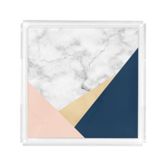elegant white marble gold peach blue color block acrylic tray
