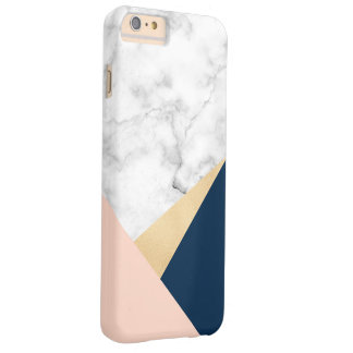 elegant white marble gold peach blue color block barely there iPhone 6 plus case