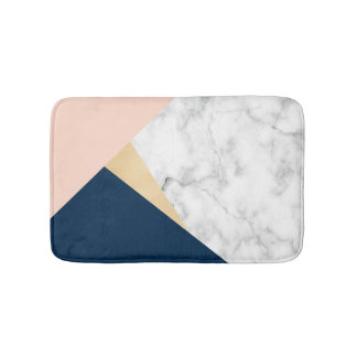 elegant white marble gold peach blue color block bath mat