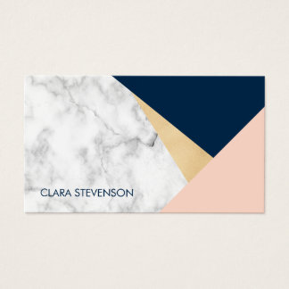 elegant white marble gold peach blue color block business card