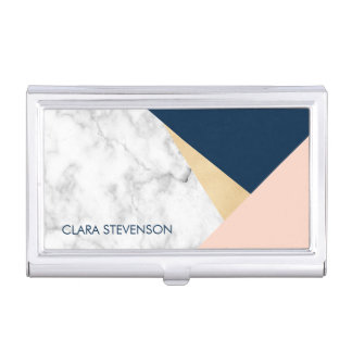 elegant white marble gold peach blue color block business card holder