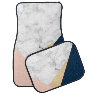 elegant white marble gold peach blue color block car mat