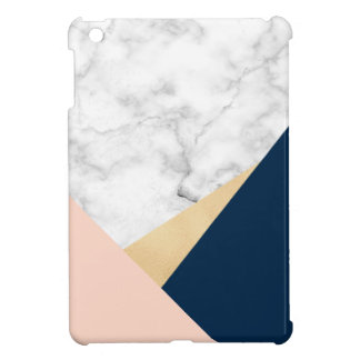elegant white marble gold peach blue color block case for the iPad mini