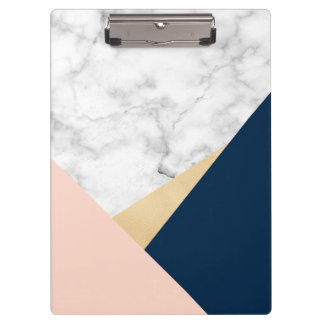 elegant white marble gold peach blue color block clipboard