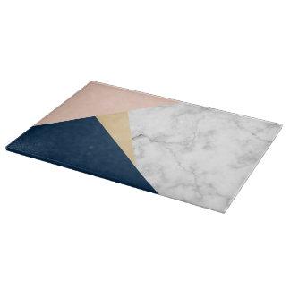 elegant white marble gold peach blue color block cutting board