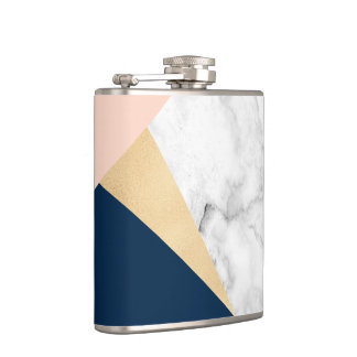 elegant white marble gold peach blue color block flask