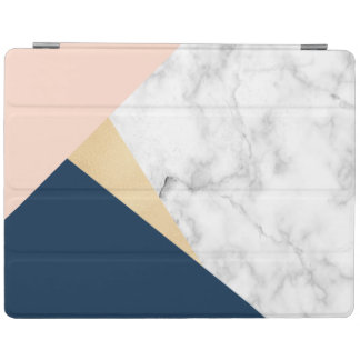 elegant white marble gold peach blue color block iPad cover