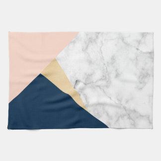 elegant white marble gold peach blue color block kitchen towel