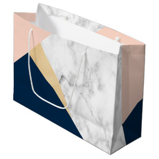 elegant white marble gold peach blue color block large gift bag