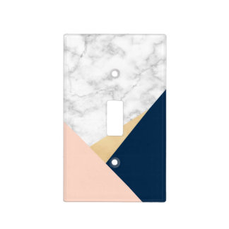 elegant white marble gold peach blue color block light switch cover